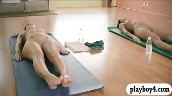 Sexy babes learning to relax while yoga