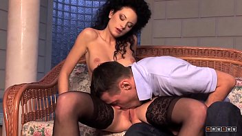 Hot Brunette with Curly Hair Takes his Cock Deep in the Cunt