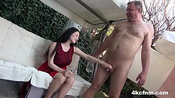 Handjobs young vs old - Hot babe sucks old cock in the backyard - cfnm