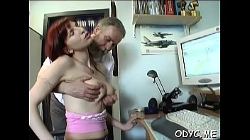 Appealing redhead gf Jessica with impressive natural tits gets groped and fucked