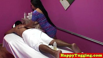 Inked asian handjob massage 8 min