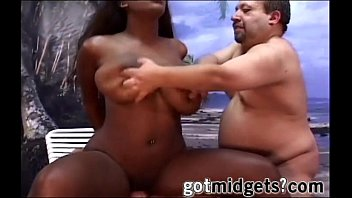 Midget in a wetsuit - 2 badass midgets cums inside an ebony mouth