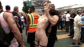 Blonde slave public d. at fair