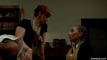 MILF professor whipping blonde teen