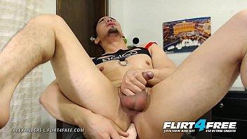Alexanders L - Flirt4Free - Athletic Gay Hispanic Slides a Dildo in His Ass Thumb