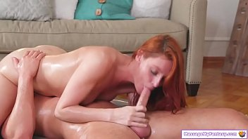 Horny redhead home masseuse fucks client