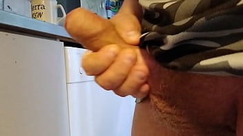 Stiff cock Sperma release after holding it for a week