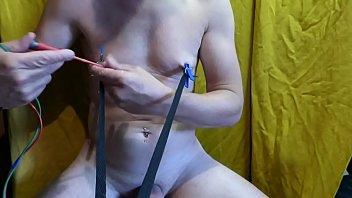 BDSM tits torture with ice cube et needles Estim for respect order to mistress julie