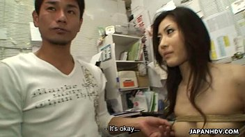 Brunette Asian babe getting fucked by two dudes image