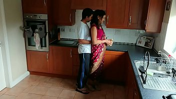 Red saree Bhabhi caught watching porn seduced and fucked by