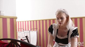 Horny British Maid gets Deepthroated and gagged Balls deep by 2 Cocks