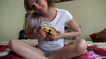 Playful Nubile Caresses Her Petite Body