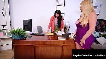 BBW Attorney Angelina Castro Strap-On Bangs Karen Fisher! 10 min