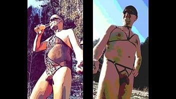 crossdressing nudist presenting his nylon outdoor