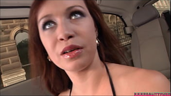 Rolling cat house (Married amateur guy taken in the street fuck hot red head driving around the city) 39 min