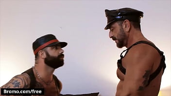 Leathermen (Vince Parker, Jake Nicola) Are Ready For Some Playtime So The Hairy Bearded Top Straps - Bromo