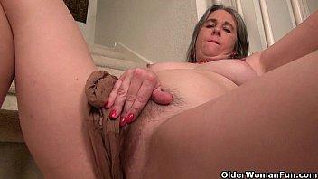 Naughty granny Bossy Rider loves fingering her asshole porn image