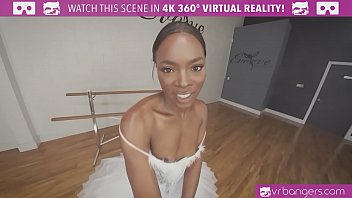VRBangers.com - Sexy Ebony Ballerina gets her pussy stretched and fucked hard