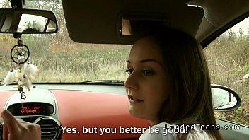 Brunette Stranded Teen Gangbanged In The Car