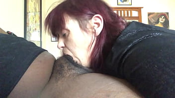 white milf gives a nice long bj to black cock and swallows