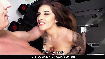 BUMS BUS - Sexy big-titted German babe Wild Vicky rides cock in the bus