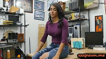 Paws on boobs Busty brunette in pawn shop