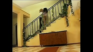 Posh latina with long black hair gives old dude a blowjob on the stairs