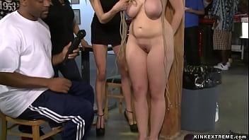 Bound big tits blonde banged in public