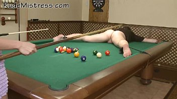 Nasty girls shooting pool