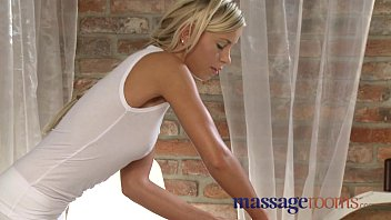 Massage Rooms Blonde teen massages client's cock with her tight pussy thumbnail