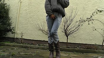 In jeans piss - Hd desperately waiting with full bladder, jeans wetting