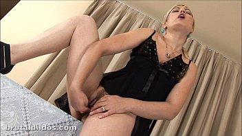 Dante dick Blonde ionella inserting a thick dildo