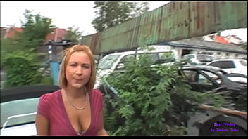 The girl is willing to fuck in storage of old cars