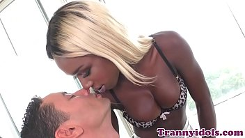 Nubian tgirl facialized and anally pounded