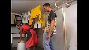 Latina maid milfs - Slutty maid gets ass fucked doing laundry