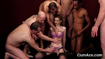 Naughty sex kitten gets jizz load on her face swallowing all the semen - 69VClub.Com