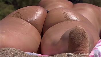 Amazing close up bubble juicy white ass hottie sunbathing in thong bikini