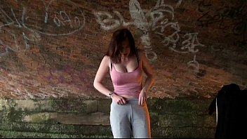 Stripping uk amateur Holly Kiss flashing in public under a railway bridge