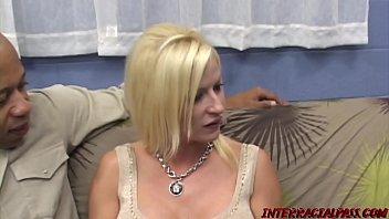 Busty MILF Lauren on her knees slobbering monster BBC