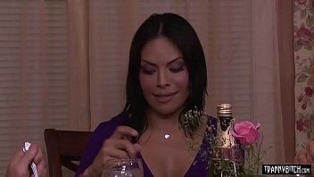 Busty latina MILF tranny TS Foxxy analyzed by masseur