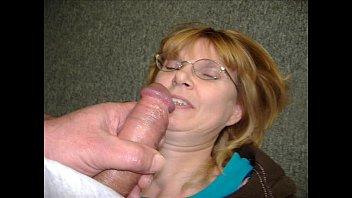 Mature couple handjob and facial at work