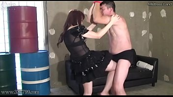 Japanese Femdom Ballbusting, Licking Feet with Crush Food
