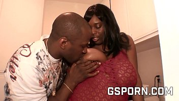 Ebony couple with chubby and big black cock fuck hard