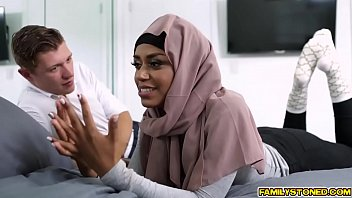 Hijab ebony babe blowjob her step bro
