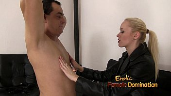 Dominatrix In Black Leather Playing With A Slave 23 min