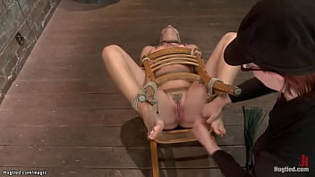 Busty tied lesbian pussy toyed