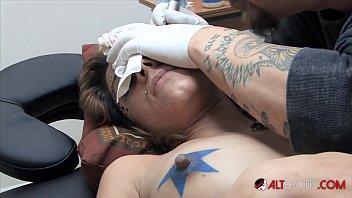 Nude tattooed erotic Amina sky gets a face tattoo while completely nude