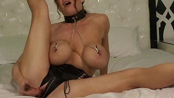 Collared Slut in Nipple Clamps Pounds Her Pussy