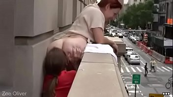 redhead dyke faggot gets her thicc ass eaten on a balcony