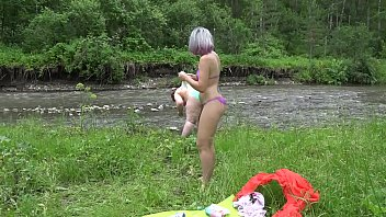 Hairy lesbians with big asses in the natural environment. Fetish with peeping behind the scenes and body art outdoors. 10 min
